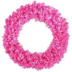 Cut Tinsel Artificial Christmas Wreath   Pink Lights