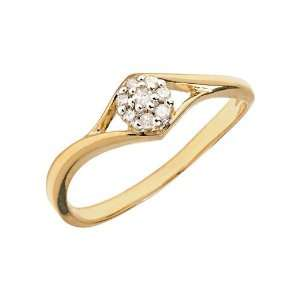 14K Yellow Gold Diamond Cluster Ring (Size 4.5) Jewelry
