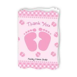 Baby Feet Pink   Personalized Baby Thank You Cards With