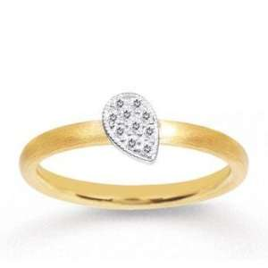 14k Two Tone Gold Diamond Tear Drop Stackable Ring Jewelry
