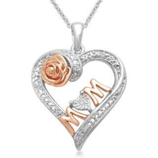 Yellow Gold Plated Sterling Silver Diamond MOM and Child Heart Pendant