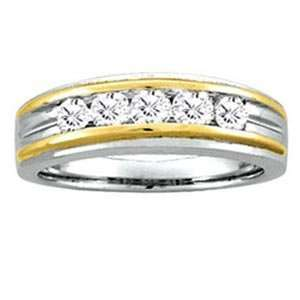 Mens 1/2 Carat Diamond 14k Two Tone Gold Wedding Ring