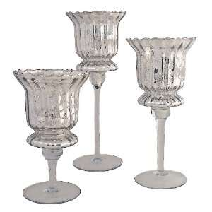 Silver Candle Goblets Set/3 With Clear GlassScg3C
