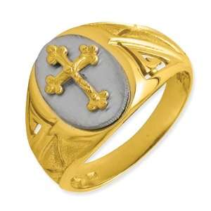14k Gold Two Tone Etched Design Cross on Top Mens Ring Jewelry