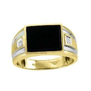 Mens Onyx & Diamond Ring 14K Yellow Gold Jewelry