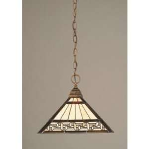 Toltec Lighting 12 982 Any Chain Pendant with Greek Key Tiffany Glass