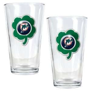 NFL Miami Dolphins St. Patricks Day 2pc Pint Glass Set