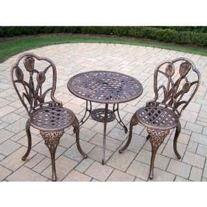 Living Tulip Cast Aluminum 3 Piece Bistro Set Patio, Lawn & Garden