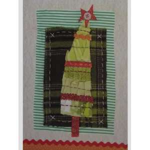 8 Glittered Quilted Christmas Tree Note Cards Office