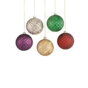 Set of 10 Quilted Glass Ball Christmas Tree Ornaments 4.5