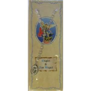 Spanish St. Michael Clear Devotional Carded Rosary Chaplet