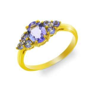 9ct Yellow Gold Tanzanite & Diamond Ring Size 9.5