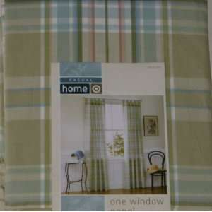 Casual Home Green Plaid Window Panel 84 Tab Top Curtain