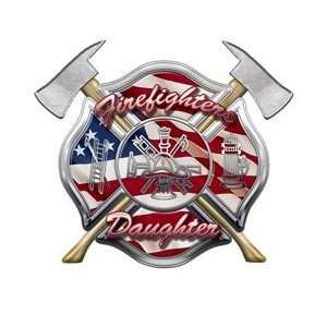 American Flag Maltese Cross Firefighters Daughter Decal