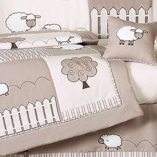 GENDER NEUTRAL BABY BEDDING LAMB CRIB SET FOR NEWBORN BOY GIRL BY JOJO
