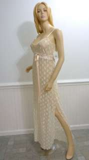 NWT CLAIRE PETTIBONE BRIDAL NIGHTGOWN XL CHAMPAGNE STRETCHY LACE W