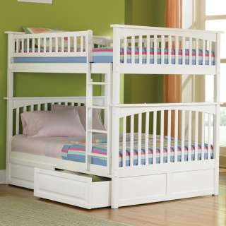 Kids Wood Bunk Bed Full over Full   White