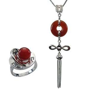 Good Luck Red Jade Sterling Silver Pendant Necklace & Fortune, Luck