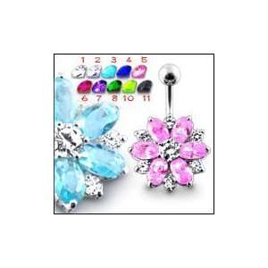 Fantasy Jeweled Flower Belly Ring Body Jewelry Jewelry