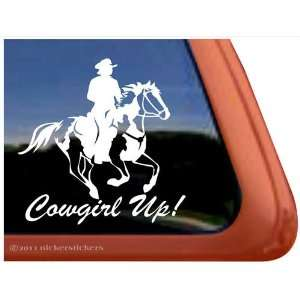 Cowgirl Up American Paint Horse Trailer Vinyl Window